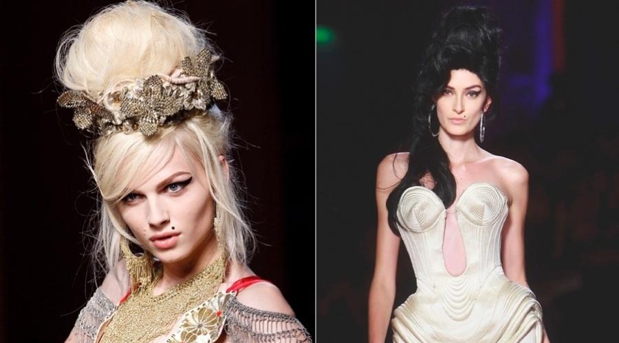 A cantora Amy Winehouse foi a inspiração do desfile primavera/verão 2012 do estilista Jean-Paul Gaultier na Semana de Moda de Paris (25/01/12)