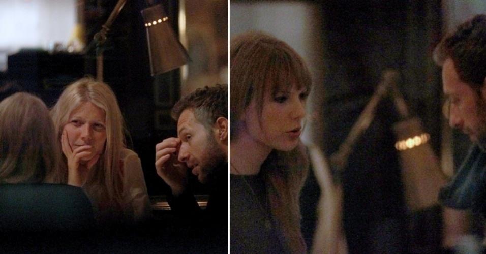 A cantora country Taylor Swift vai a um jantar com o casal formado pela atriz Gwyneth Paltrow e o vocalista do Coldplay, Chris Martin, em Londres, na Inglaterra (26/1/12)