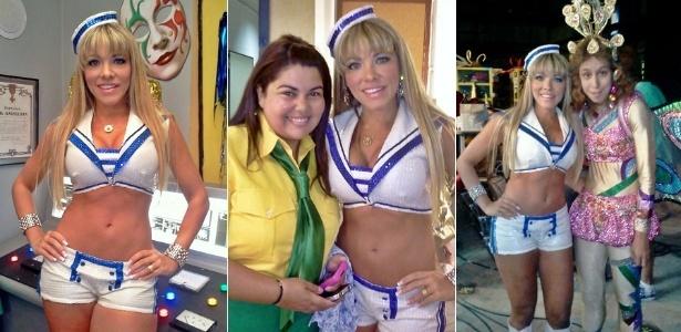"""Fantasiadas, as atrizes Amanda Pinheiro, Fabiana Karla e Thalita Carauta gravam especial de Carnaval para o """"Zorra Total"""" (26/1/12)"""