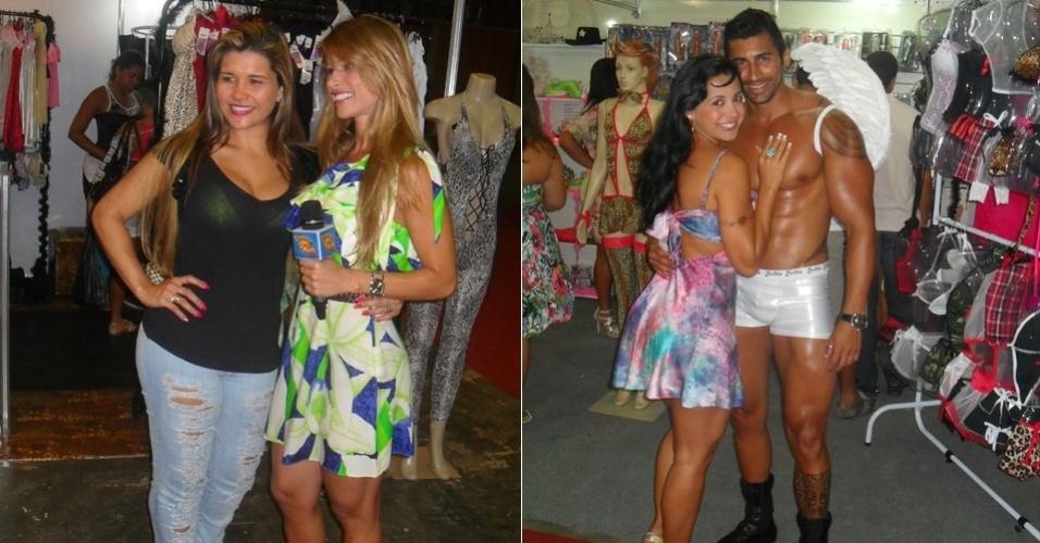 Da esquerda para a direita, Grace Kelly, a Mulher Maçã, Dany Bananinha e Karine Camargo, a Morena da Laje, vão à feira erótica no Rio (26/1/12)