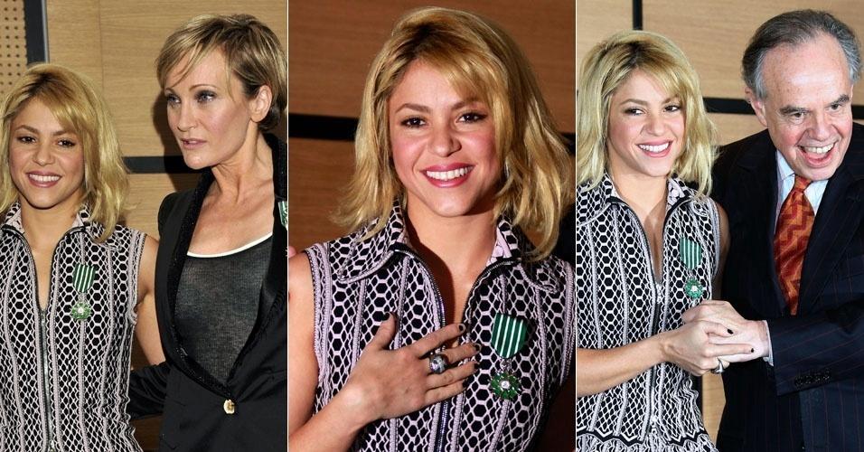 A cantora colombiana Shakira recebe prêmio do ministro da cultura da França, Frederic Mitterrand, na abertura da 46ª edição do Mercado Internacional do Disco e da Edição Musical em Cannes, na França