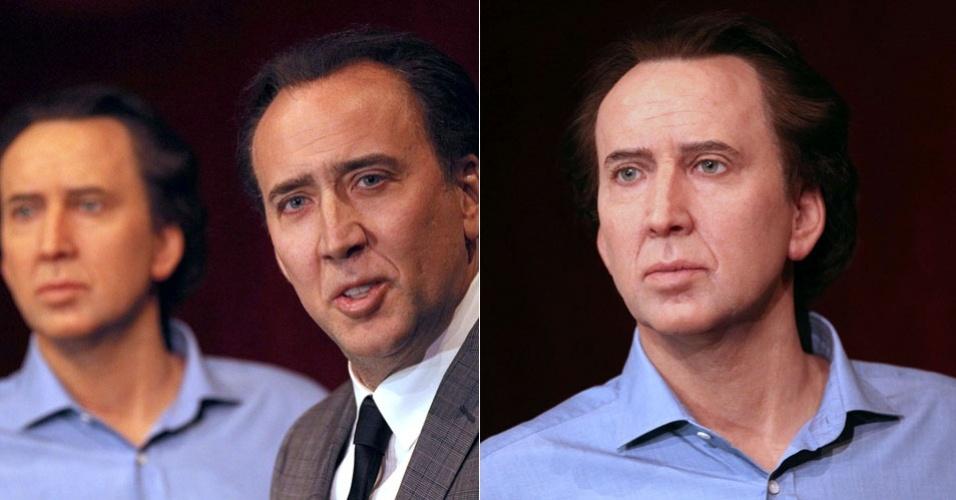 O ator Nicolas Cage ganha uma estátua de cera (foto à direita) no museu de cera Grevin em Paris, França (29/1/12)