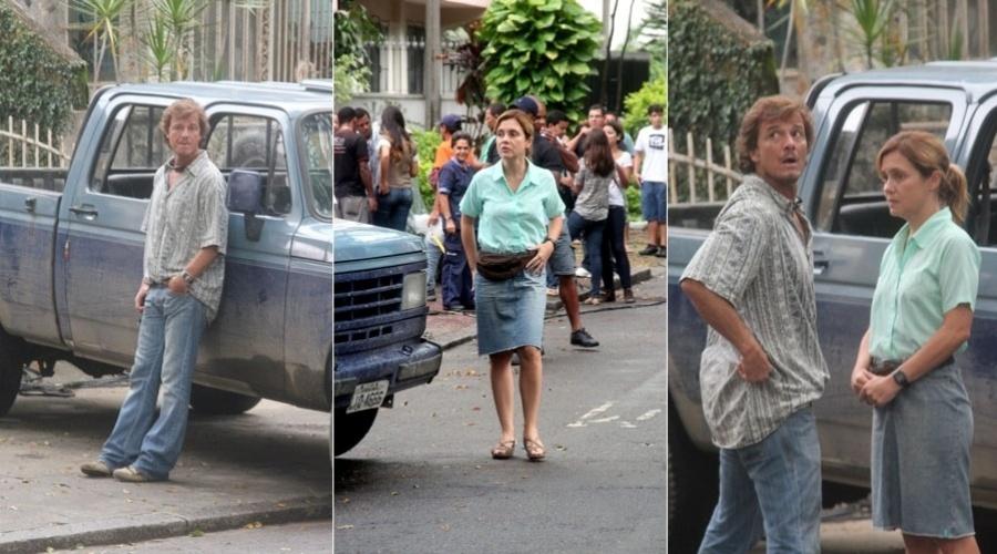 """Adriana Esteves e Marcello Novaes gravam cenas de """"Avenida Brasil"""" no Grajaú, zona norte do Rio (31/1/12)"""
