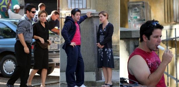 """Adriana Esteves e Murilo Benício gravam cenas de """"Avenina Brasil"""" no bairro do Grajaú, zona norte do Rio (1/2/2012)"""