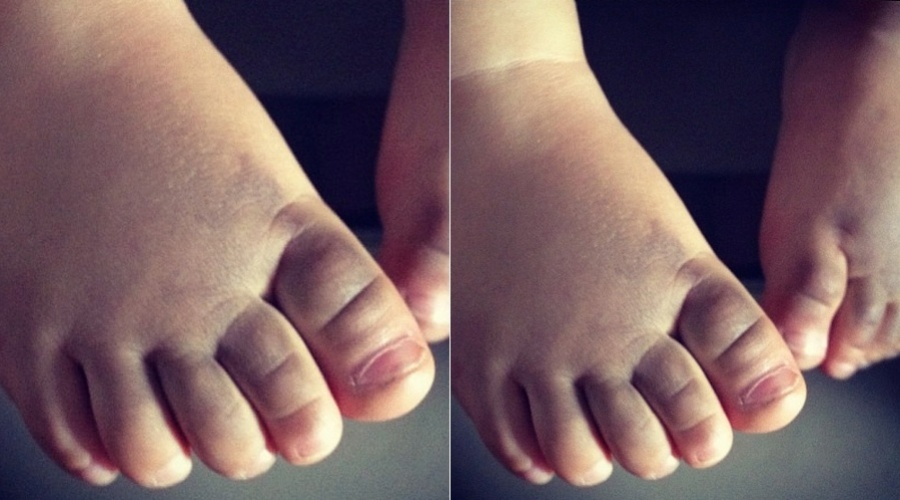 Juliana Paes mostra foto do pé do filho, Pedro (3/2/2012)
