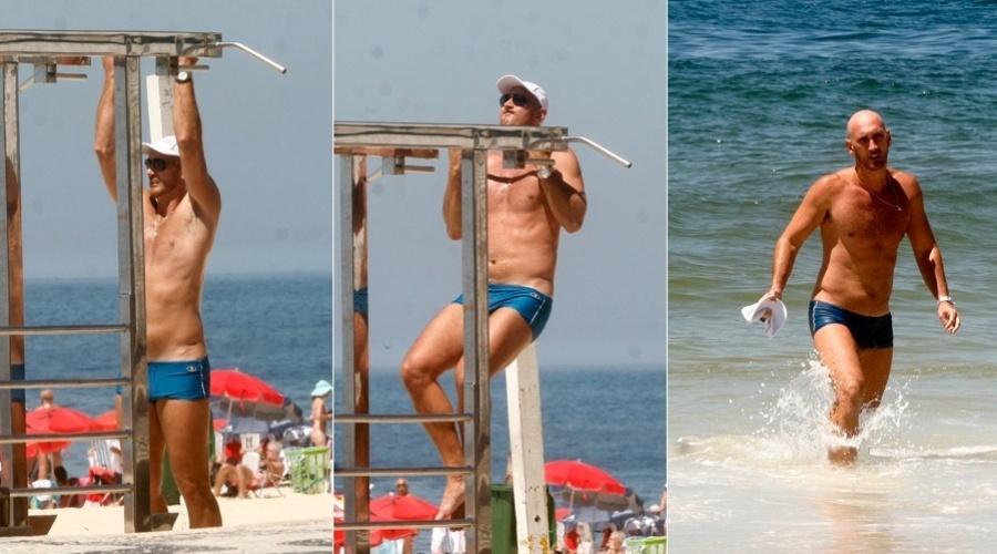Nalbert se exercita na praia do Leblon, zona sul do Rio (3/2/2012)