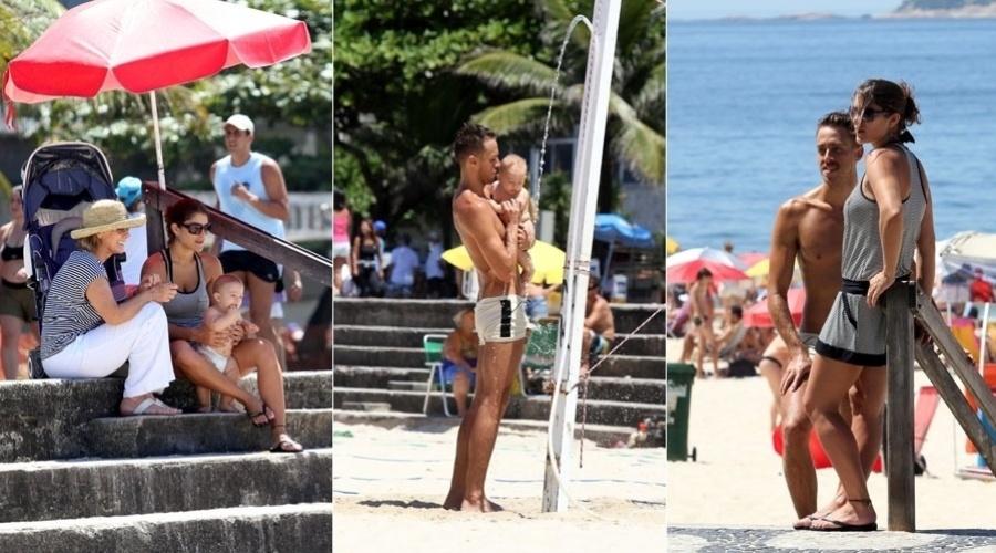 Priscila Fantin passeia com o filho, Romeo, pela orla da praia do Leblon, zona sul do Rio (5/2/2012)