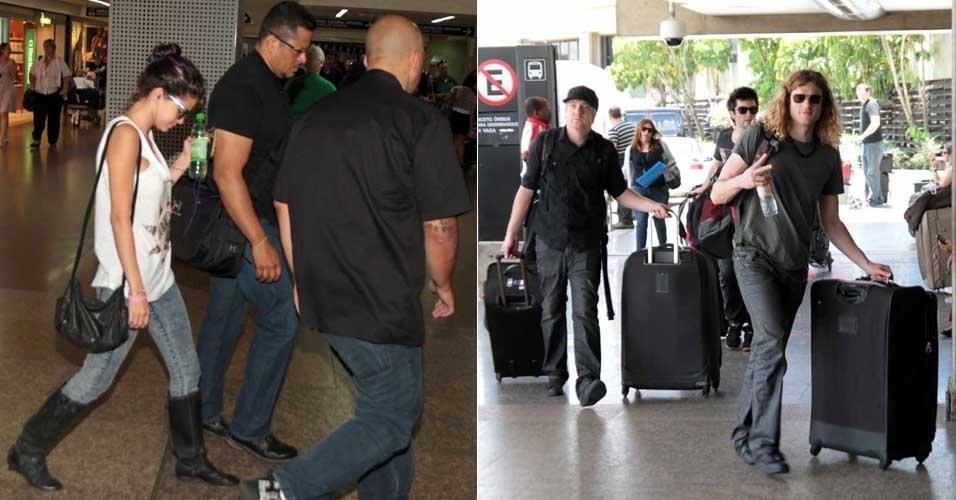 Depois de se apresentar no Rio de Janeiro e em São Paulo, Selena Gomez é vista ao lado dos músicos de sua banda no Aeroporto de Congonhas, em São Paulo (6/2/12)
