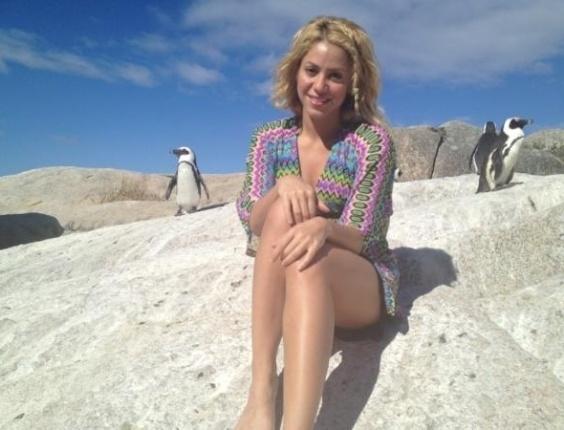 Em Cape Town, na África do Sul, Shakira posa ao lado dos pinguins.