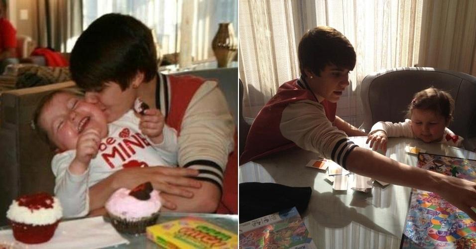 """Justin Bieber realizou o sonho de uma garota com câncer, Avalanna Routh, 6, e ficou ao seu lado durante toda a terça-feira. O astro pop brincou, comeu cupcakes ao lado da menina e recebeu diversos abraços. """"Essa é a melhor parte do meu dia"""", escreveu Justin no Twitter (13/2/12)"""
