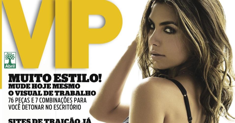 "A modelo Letícia Wiermann posa para a capa da revista ""Vip"" de março"