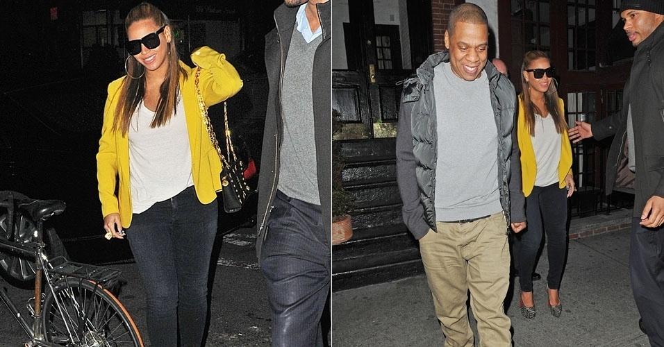 Beyoncé sai para jantar com Jay-Z em West Village, em Nova York, e exibe boa forma depois de dar à luz a Blu Ivy (20/2/12)