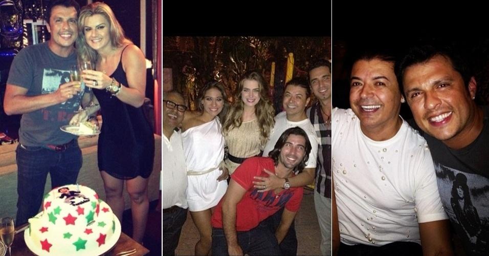 Mirella Santos comemora o aniversário do noivo,Wellington Muniz, o Ceará, em mesmo bar que o ex-marido, Latino, estava cantando, no Rio de Janeiro (23/2/12)