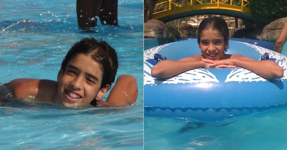 Matheus Costa vai a parque aquático na Barra da Tijuca, na zona oeste do Rio de Janeiro (29/2/12)