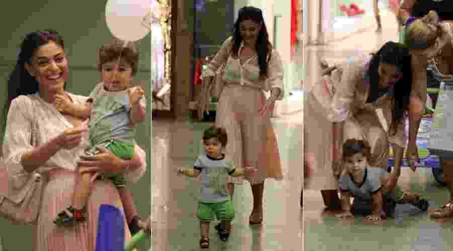 Juliana Paes brinca com o filho Pedro durante passeio no shopping Rio Design Barra, na zona oeste carioca (3/3/12) - AgNews