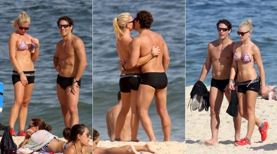 Fiorella Mattheis e Flávio Canto namoram na praia do Leblon, na zona sul do Rio de Janeiro (4/3/12)