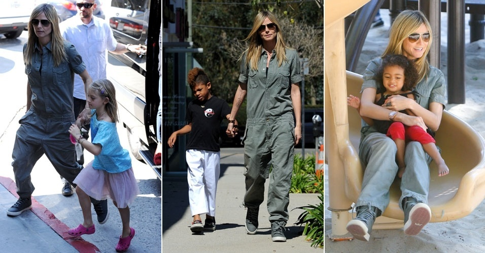 Recém-separada do cantor Seal, a modelo Heidi Klum brinca e passeia com os filhos após aula de caratê das crianças, em Los Angeles, Califórnia (4/3/12)