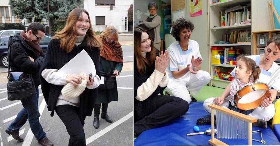 Após quatro meses de dar à luz a Giulia, Carla Bruni voltou as suas atividades sociais nesta semana. A primeira-dama francesa visitou um centro de reeducação motora de crianças com deficiência, em Paris e chegou animada ao local (5/3/12)