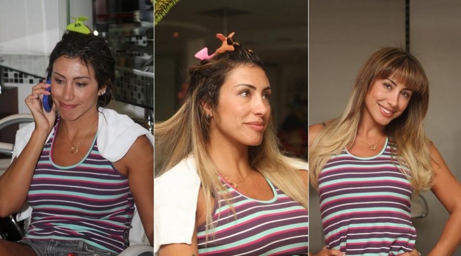 Jaque Khury retoca as madeixas em salão do Rio (6/3/2012)