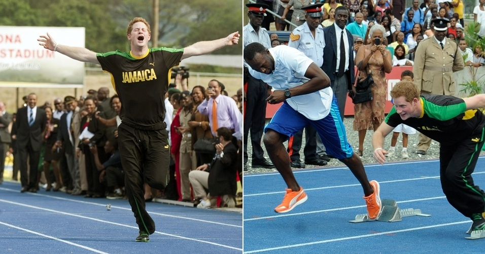 """O Príncipe Harry, da Inglaterra, """"ganha"""" do atleta campeão olímpico Usain Bolt com uma falsa largada numa corrida de brincadeira em universidade da Jamaica  (6/3/12)"""