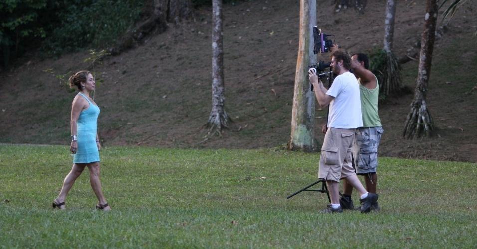 Cissa Guimarães grava programa no Parque da Cidade, localizado na Gávea, zona sul do Rio (7/3/2012)