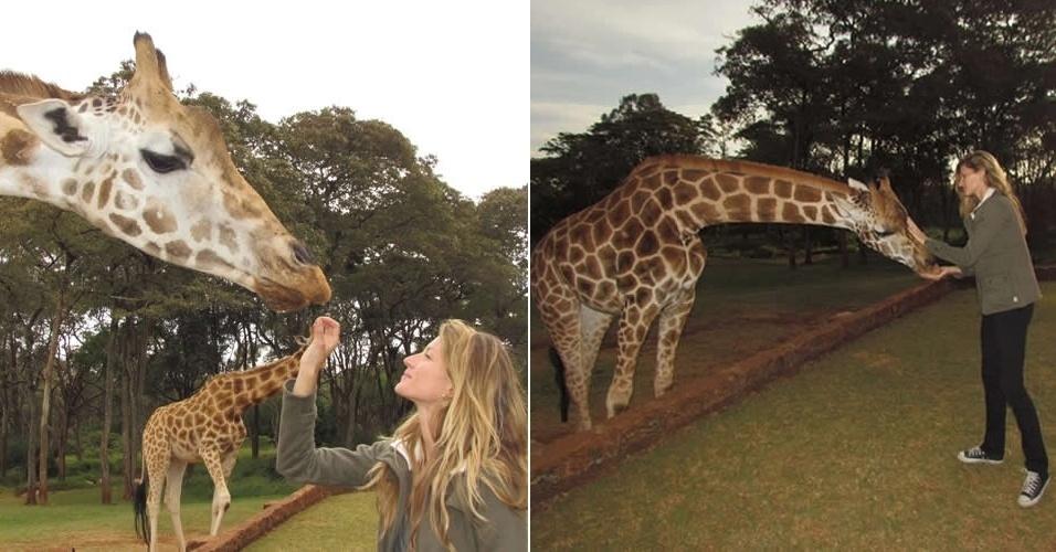 """Gisele Bundchen visita santuário de girafas na África, que estão em extinção. """"Seria uma tragédia perder estes belos animais do nosso planeta"""", disse a modelo em seu blog. A top também defendeu a preservação da natureza (6/3/12)"""