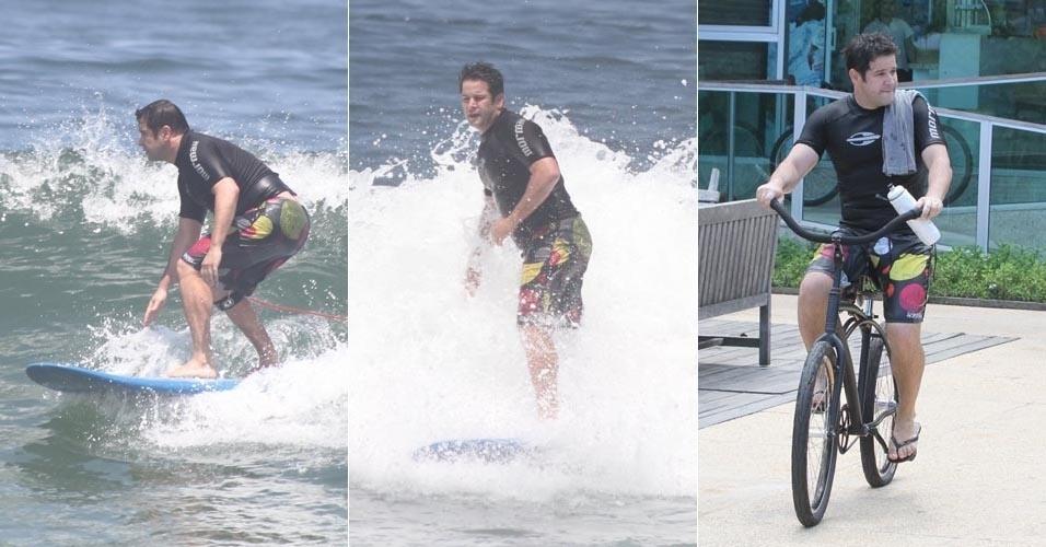 O ator Murilo Benicio surfa na Barra da Tijuca, no Rio de Janeiro (7/3/12)
