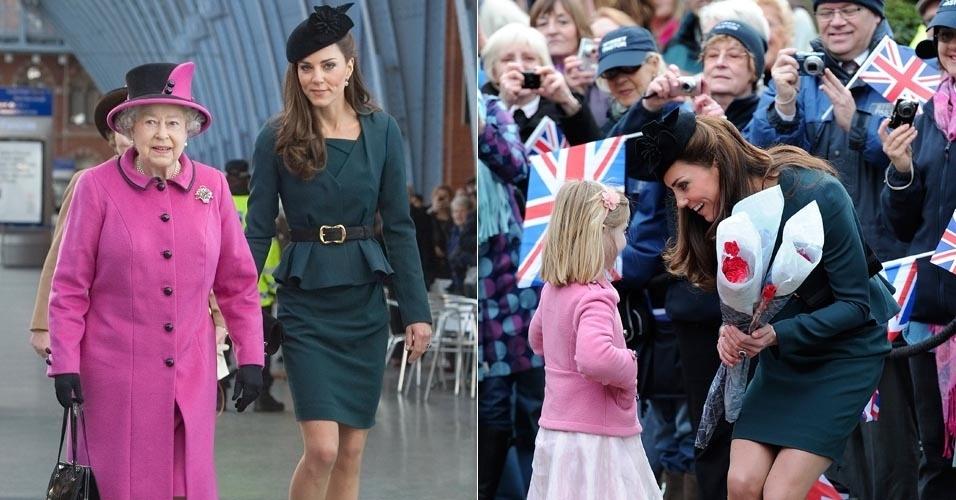 Kate Middleton acompanha a rainha Elizabeth II no primeiro dia do Jubileu de Diamante pelo Reino Unido, que comemora os 60 anos da rainha na monarquia inglesa (8/3/12)