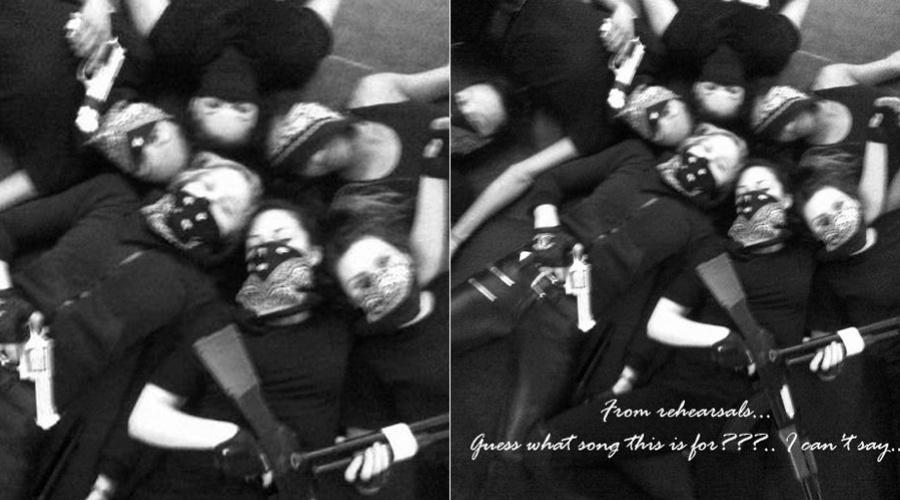 Madonna aparece segurando armas ao lado de seus bailarinos (12/3/2012)