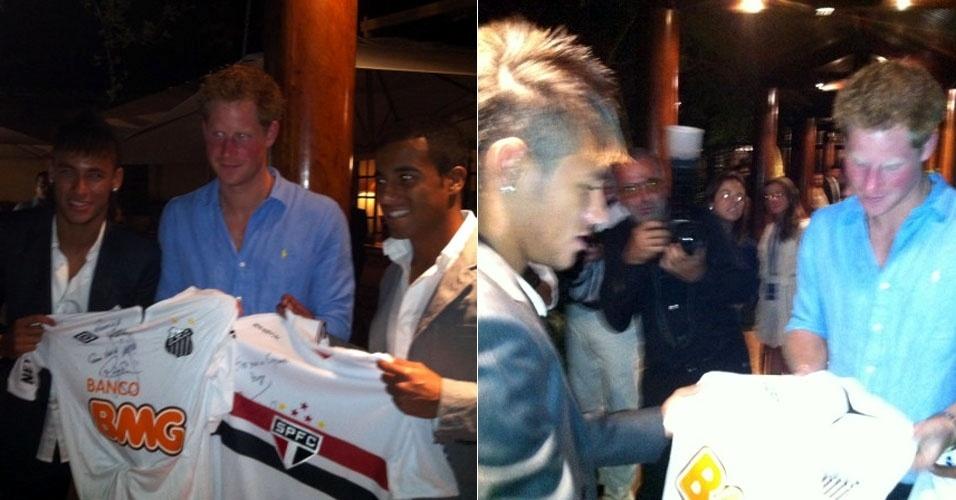 """Neymar e Lucas entregam camisetas de seus respectivos clubes ao príncipe Harry durante jantar beneficiente. """"Essa noite participei de um jantar beneficente com o príncipe Harry, do Reino Unido. Cara muito legal"""", escreveu o jogador do Santos, Neymar em seu Twitter. A visita faz parte da comemoração dos 60 anos de reinado da rainha Elizabeth 2° na monarquia inglesa (11/3/12)"""