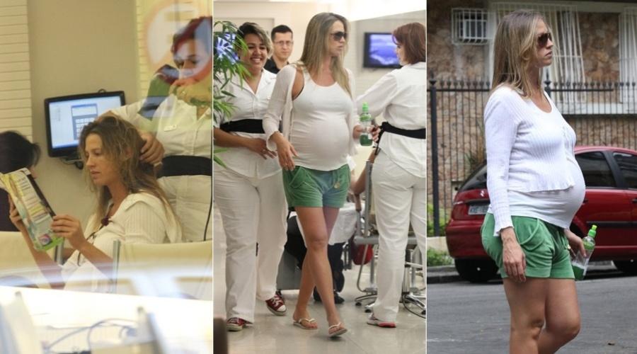 Prestes a dar à luz seu primeiro filho, Luana Piovani vai a salão de beleza na zona sul do Rio (16/3/12)