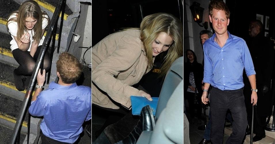 Príncipe Harry é visto com loira nos fundos da balada Brompton, em Londres. Os dois deixaram o local separadamente (15/3/12)