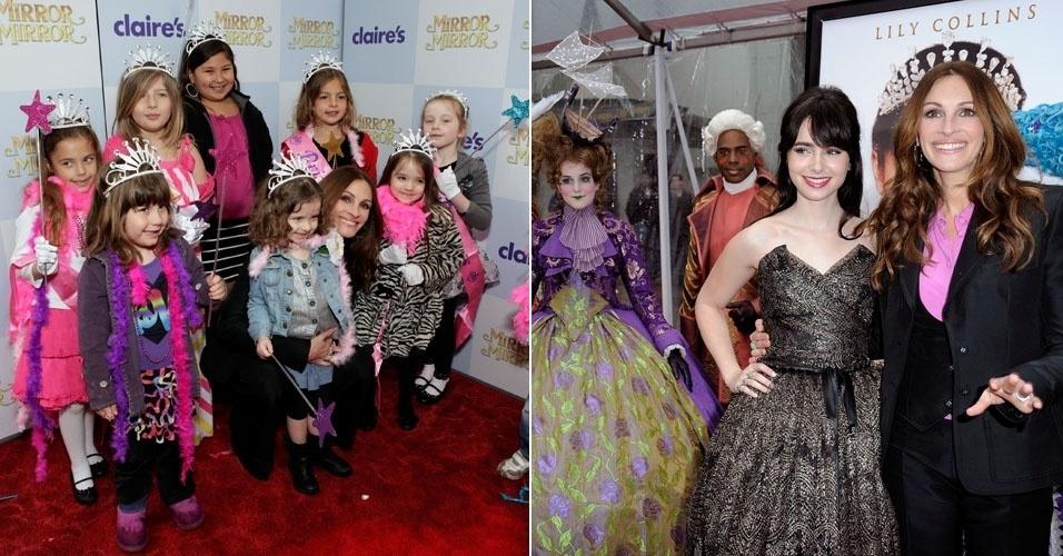 """Julia Roberts brinca com crianças na pré-estreia de seu novo longa """"Espelho, Espelho Meu"""", em que interpreta a Rainha Má do conto infantil """"Branca de Neve e Os Sete Anões"""". Julia também posa para fotos com a colega de elenco, a atriz Lily Collins, que faz o papel de Branca de Neve (17/3/12)"""