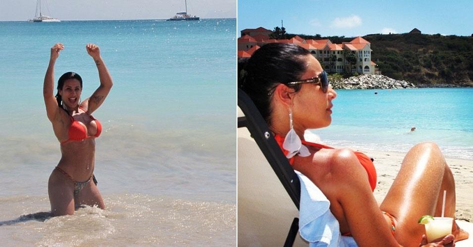 """Scheila Carvalho descansa em St. Martin, no Caribe. """"Recarregando as energias para voltar ao trabalho com mais garra. Um Paraíso!"""", escreveu a dançarina, ao publicar a foto em seu Twitter (17/3/12)"""