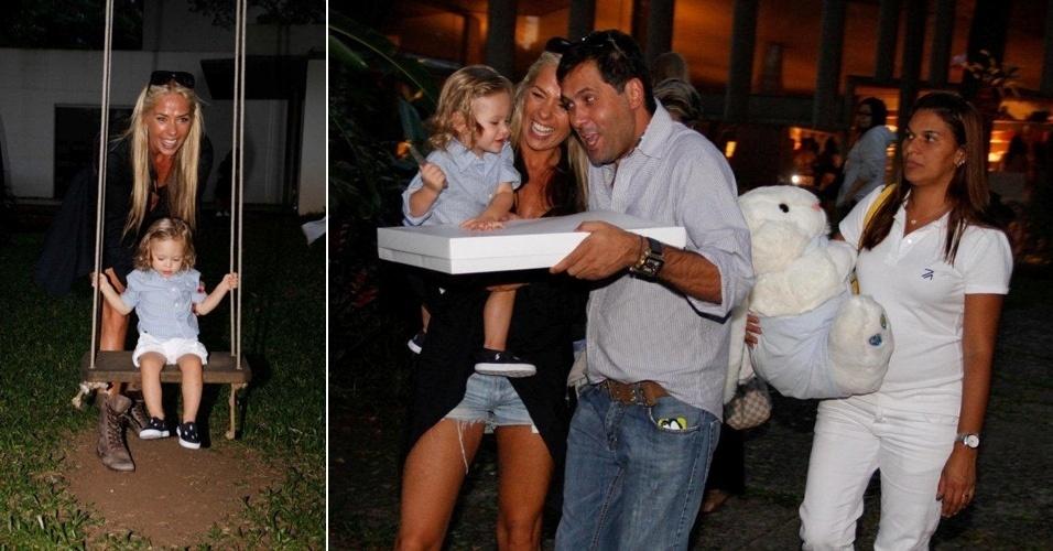 Adriane Galisteu leva o filho Vittorio na casa de Isabella Suplicy, nos Jardins, em São Paulo (21/3/12)