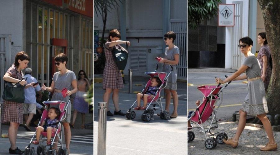 Débora Falabella passeia com a filha e a irmã pelo bairro da Gávea, zona sul do Rio (21/3/2012)