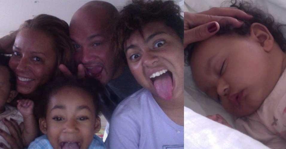 """A ex-Spice Girl Mel B posta foto no Twitter ao lado da família. """"Essa é nossa fotos de família, encantadora não?"""", disse. Em outra publicação, Mel mostrou sua caçula Madison dormindo. """"Nós temos a bebê mais linda do mundo"""", corujou"""