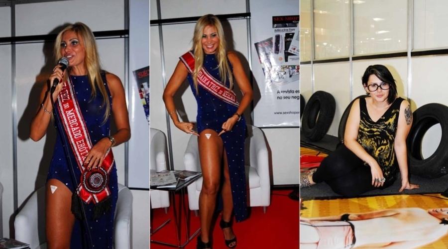 Ângela Bismarchi e a ex-BBB Mayara prestigiam a Erotika Fair, feira de produtos eróticos no Anhembi, São Paulo (22/3/2012)