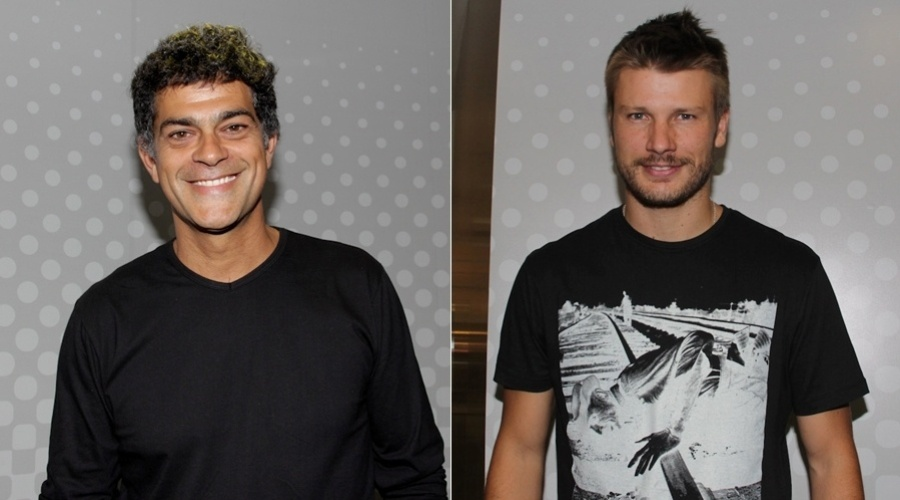 Eduardo Moscovis e Rodrigo Hilbert prestigam lançamento de marca de celular no Morumbi Shopping, em São Paulo (22/3/2012)