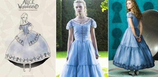 Montagem com ilustração e fotos da personagem Alice no filme de Tim Burton - Divulgação