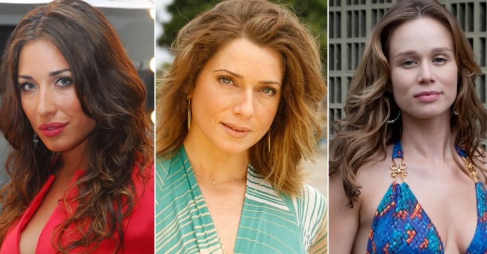 As atrizes Gisele Itié, Letícia Spiller e Mariana Ximenes cujos cabelos são copiados em salões de todo o país