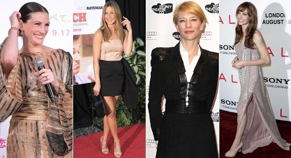 Julia Roberts, Jennifer Aniston, Cate Blanchett e Angelina Jolie estão entre as mais bem vestidas