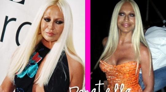 Montagem com Donatella Versace, diretora criativa da Versace