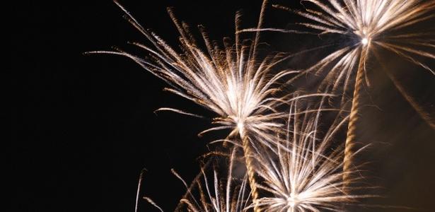 Queima de fogos de artifício na praia de Copacabana