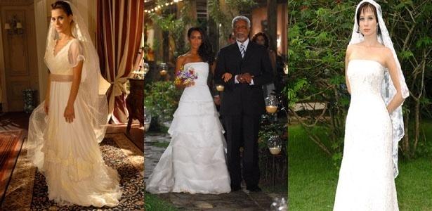 Montagem mostra vestidos de noiva de personagens de novela: Diana (Carolina Dieckmann) em