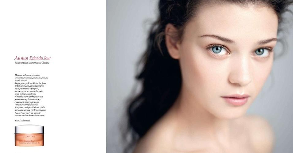 Janeiro 2011: A modelo romena Diana Moldovan foi escolhida pela Clarins como garota-propaganda da campanha para o Verão 2011 da marca de cosméticos
