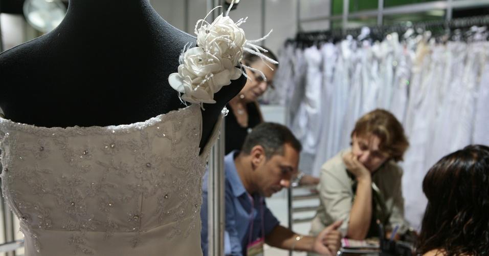 Modelo de vestido de noiva na ExpoNoivas & Festas