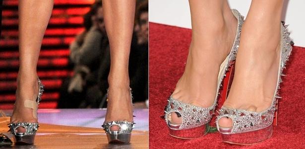 No palco do Grammy, Jennifer Lopez surge medicado e com Band-Aids; à direita, pés da cantora antes do acidente - Getty Images