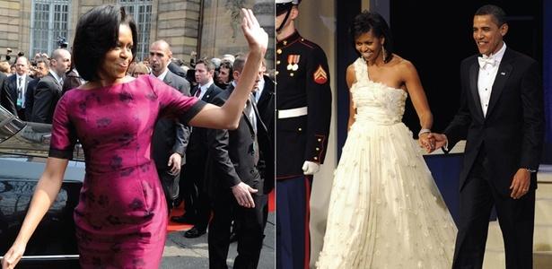 À esquerda, Michelle Obama em vestido Thakoon. À direita, a primeira-dama deixa braços e colo à mostra em look de chiffon; na ocasião, Hillary Clinton e Laura Bush optaram por peças comportadas, de mangas compridas