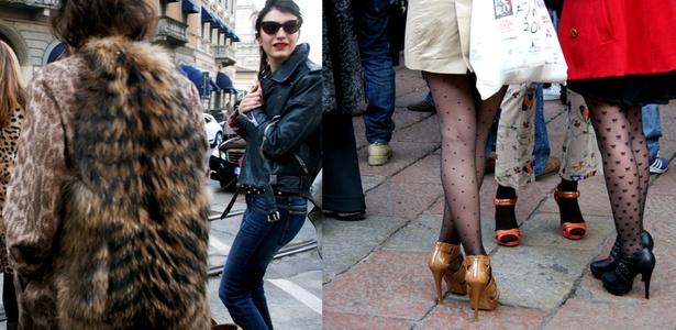 Convidadas da Gucci chegam vestidas com seus casacos de pêlo em estampa animal. À direita,  elas usam meias-calças decoradas, que dão um ar bem humorado ao look. -  Juliana Lopes/ Montagem UOL
